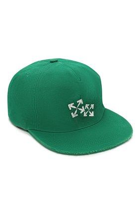 Мужской хлопковая бейсболка OFF-WHITE зеленого цвета, арт. 0MLB022S20G810024401 | Фото 1