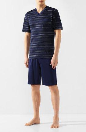 Мужская хлопковая пижама ZIMMERLI темно-синего цвета, арт. 3406-95412 | Фото 1