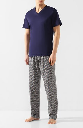 Мужские хлопковая футболка ZIMMERLI темно-синего цвета, арт. 249-95301 | Фото 2