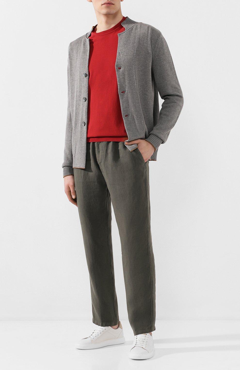 Мужские льняные брюки ALTEA хаки цвета, арт. 2053065 | Фото 2