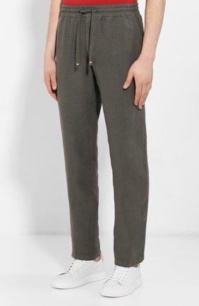 Мужские льняные брюки ALTEA хаки цвета, арт. 2053065 | Фото 3