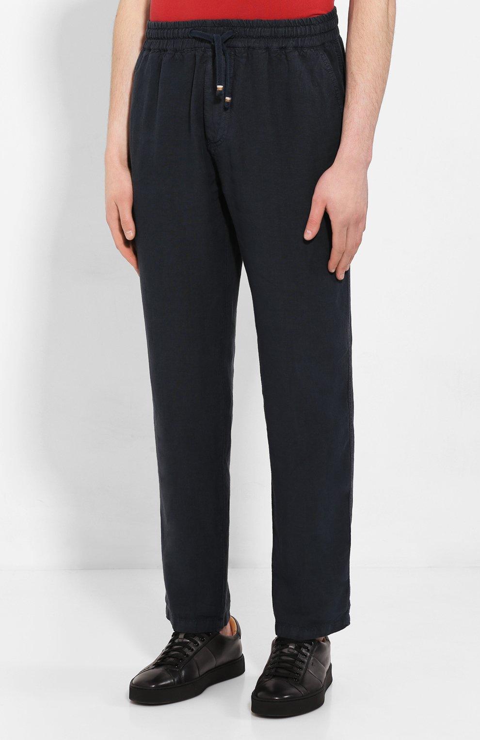 Мужские льняные брюки ALTEA синего цвета, арт. 2053065 | Фото 3