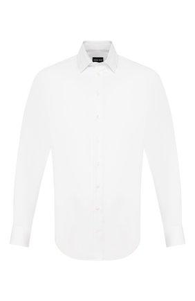 Мужская хлопковая сорочка GIORGIO ARMANI белого цвета, арт. 8WGCCZ98/TZ475 | Фото 1