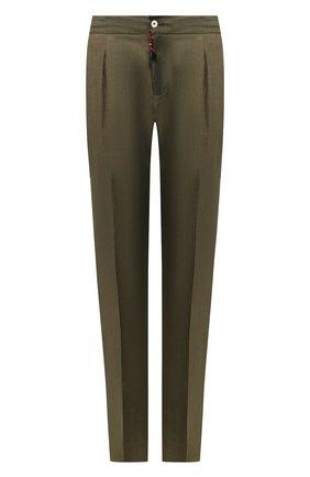 Мужской льняные брюки MARCO PESCAROLO хаки цвета, арт. CHIAIA/4129 | Фото 1