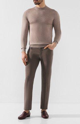 Мужские кожаные лоферы KITON бордового цвета, арт. USSCIR0N00648 | Фото 2
