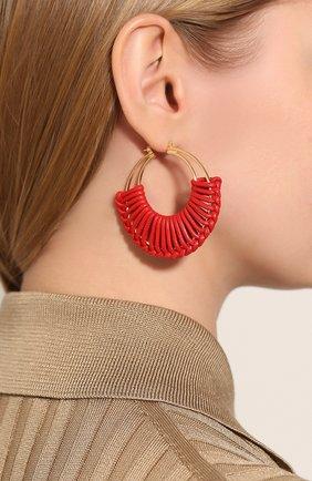 Женские серебряные серьги BOTTEGA VENETA красного цвета, арт. 590482/VAHUA | Фото 2