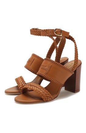 Женские кожаные босоножки TOD'S коричневого цвета, арт. XXW43B0CL30D90 | Фото 1