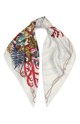 Женский шелковый платок SALVATORE FERRAGAMO светло-бежевого цвета, арт. Z-0726961 | Фото 1