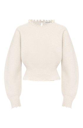 Женский пуловер из смеси шерсти и кашемира ALEXANDER WANG кремвого цвета, арт. 1KC1203076   Фото 1