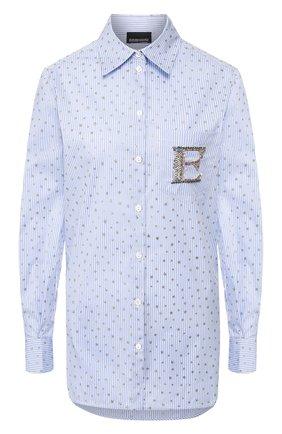 Женская хлопковая рубашка ERMANNO ERMANNO SCERVINO голубого цвета, арт. 46T CM22 RIS   Фото 1