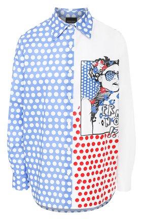 Женская хлопковая рубашка ERMANNO ERMANNO SCERVINO голубого цвета, арт. 46T CM24 P0I   Фото 1