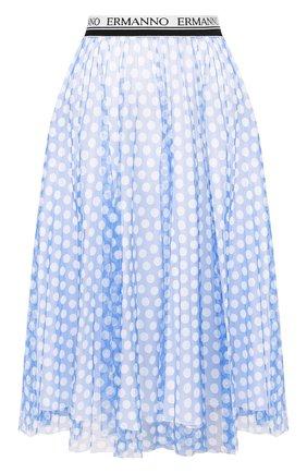 Женская хлопковая юбка ERMANNO ERMANNO SCERVINO голубого цвета, арт. 46T GN24 TUP   Фото 1