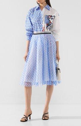 Женская хлопковая юбка ERMANNO ERMANNO SCERVINO голубого цвета, арт. 46T GN24 TUP   Фото 2
