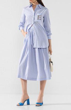 Женская хлопковая юбка ERMANNO ERMANNO SCERVINO голубого цвета, арт. 46T GN28 RIS   Фото 2
