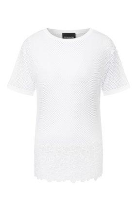 Женская хлопковая футболка ERMANNO ERMANNO SCERVINO белого цвета, арт. 46T TS05 RET   Фото 1