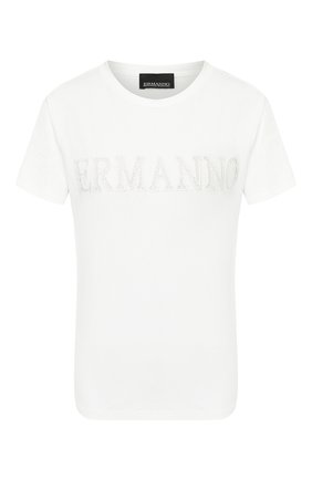 Женская хлопковая футболка ERMANNO ERMANNO SCERVINO белого цвета, арт. 46T TS21 JC0   Фото 1