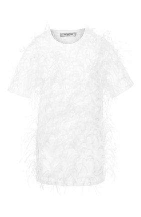 Женская хлопковая футболка VALENTINO белого цвета, арт. TB0MG06H5GW | Фото 1