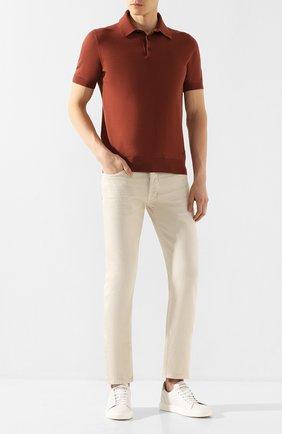 Мужское хлопковое поло ERMENEGILDO ZEGNA коричневого цвета, арт. UUC90/C32 | Фото 2
