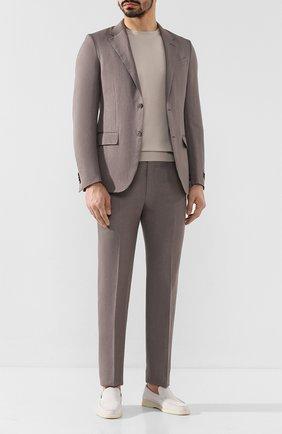 Мужской костюм из смеси шерсти и льна ERMENEGILDO ZEGNA светло-серого цвета, арт. 776509/25M22Y | Фото 1