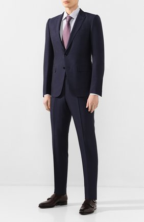 Мужской костюм из смеси шелка и шерсти ERMENEGILDO ZEGNA темно-синего цвета, арт. 716070/21CSA7 | Фото 1