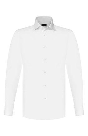 Мужская хлопковая сорочка ERMENEGILDO ZEGNA белого цвета, арт. 703901/9MS4BA | Фото 1