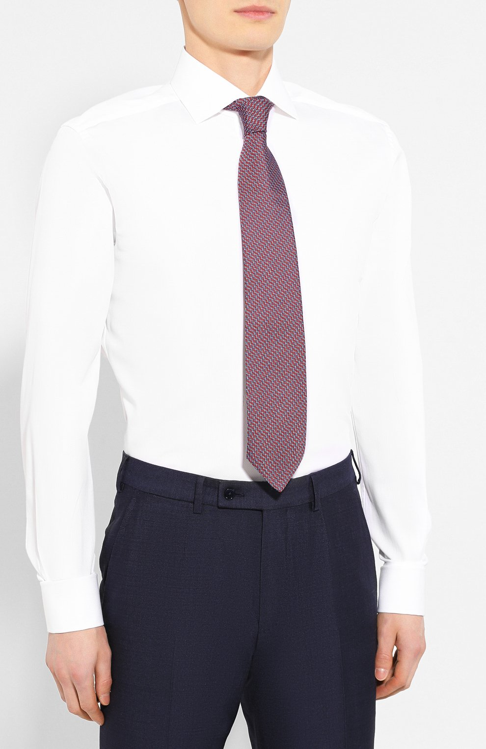 Мужская хлопковая сорочка CORNELIANI белого цвета, арт. 85P150-0111304/00 | Фото 4