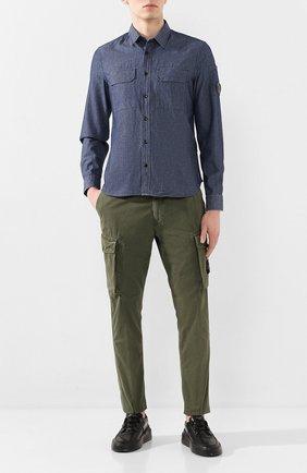 Мужская хлопковая рубашка C.P. COMPANY темно-синего цвета, арт. 08CMSH165A-005305W | Фото 2