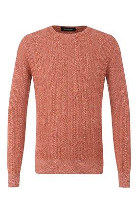 Мужской свитер из смеси кашемира и хлопка ERMENEGILDO ZEGNA оранжевого цвета, арт. UUQ95/110 | Фото 1