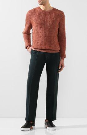 Мужской свитер из смеси кашемира и хлопка ERMENEGILDO ZEGNA оранжевого цвета, арт. UUQ95/110 | Фото 2