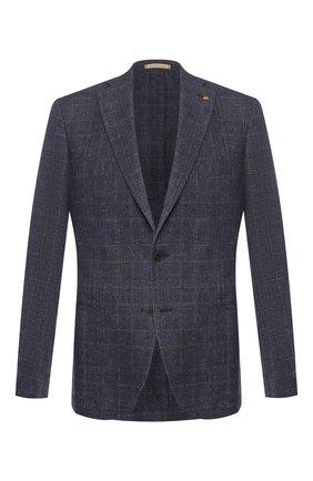 Мужской пиджак из смеси льна и хлопка SARTORIA LATORRE темно-синего цвета, арт. EF74 Q70361 | Фото 1