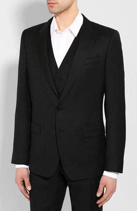 Мужской шерстяной костюм-тройка DOLCE & GABBANA черного цвета, арт. GK3XMT/FJ2BV | Фото 2