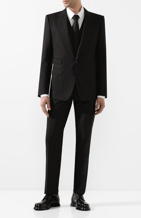 Мужской шерстяной костюм-тройка DOLCE & GABBANA черного цвета, арт. GKC8MT/FR3E3 | Фото 1