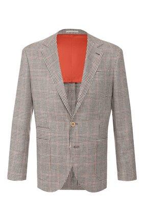 Мужской пиджак из смеси льна и шерсти BRUNELLO CUCINELLI бежевого цвета, арт. MW4247BND | Фото 1