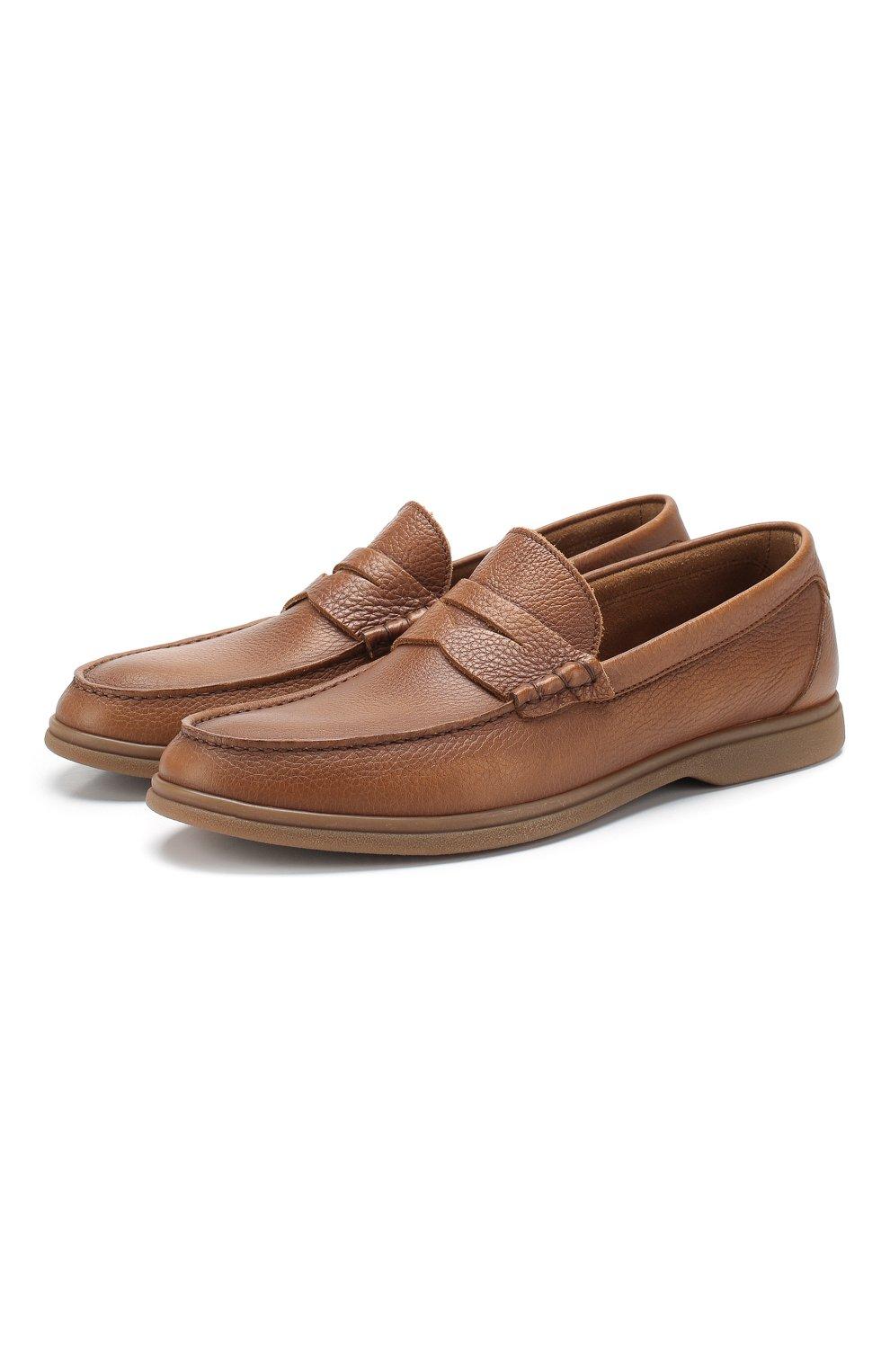 Мужские кожаные пенни-лоферы BRUNELLO CUCINELLI коричневого цвета, арт. MZUT0GB946   Фото 1