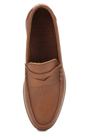 Мужские кожаные пенни-лоферы BRUNELLO CUCINELLI коричневого цвета, арт. MZUT0GB946   Фото 5