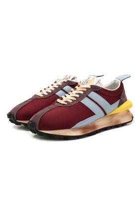Мужские комбинированные кроссовки LANVIN бордового цвета, арт. FM-SKBRUN-NYL0-P20 | Фото 1
