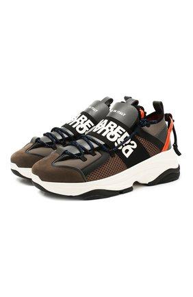 Мужские комбинированные кроссовки DSQUARED2 коричневого цвета, арт. SNM0048 16502621   Фото 1