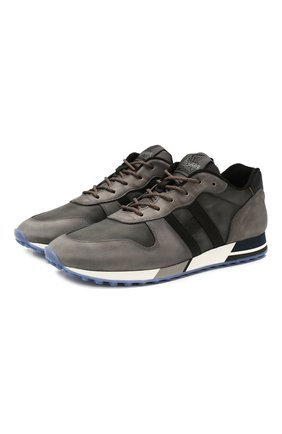 Мужские кожаные кроссовки HOGAN серого цвета, арт. HXM3830AN51N4Z | Фото 1