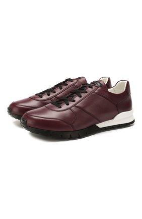 Мужские кожаные кроссовки KITON бордового цвета, арт. USSVLAEN00648 | Фото 1 (Материал внутренний: Натуральная кожа; Подошва: Массивная; Стили: Классический)