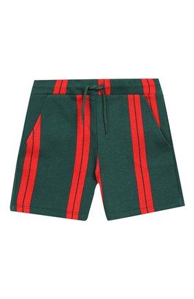Детские хлопковые шорты MINI RODINI зеленого цвета, арт. 20230147 | Фото 1