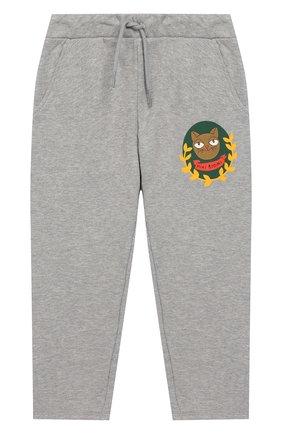 Детские хлопковые брюки MINI RODINI серого цвета, арт. 20230157 | Фото 1