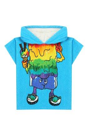 Детского пляжное пончо STELLA MCCARTNEY голубого цвета, арт. 588604/S0JE5 | Фото 1