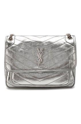 Женская сумка niki medium SAINT LAURENT серебряного цвета, арт. 575055/1Q302 | Фото 1