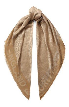 Женская шаль из смеси шелка и шерсти BURBERRY бежевого цвета, арт. 8022010 | Фото 1