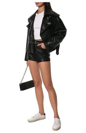 Женские кожаные кеды court classic SAINT LAURENT белого цвета, арт. 610649/08G10 | Фото 2 (Подошва: Платформа; Материал внутренний: Натуральная кожа)
