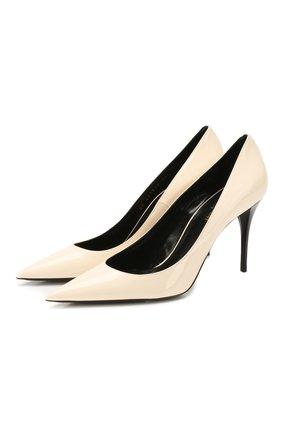 Женская кожаные туфли lexi SAINT LAURENT кремвого цвета, арт. 603912/0NP00 | Фото 1