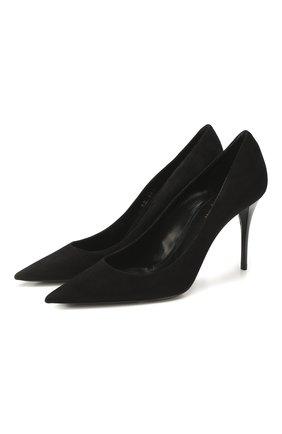 Женские замшевые туфли lexi SAINT LAURENT черного цвета, арт. 603912/C2000   Фото 1