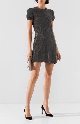Женские замшевые туфли lexi SAINT LAURENT черного цвета, арт. 603912/C2000   Фото 2 (Материал внутренний: Натуральная кожа; Подошва: Плоская; Каблук высота: Высокий; Материал внешний: Кожа, Замша; Каблук тип: Шпилька)