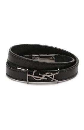 Женский кожаный браслет SAINT LAURENT черного цвета, арт. 536073/B000R | Фото 1