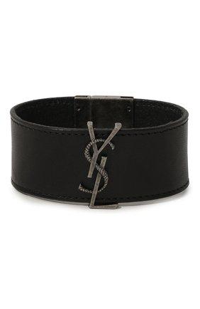 Женский кожаный браслет SAINT LAURENT черного цвета, арт. 586800/0IH0D | Фото 1